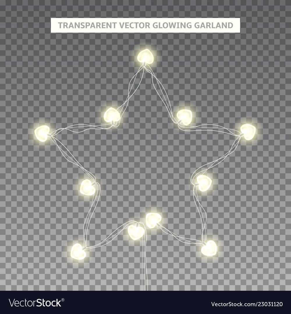Glowing garland in shape star vector