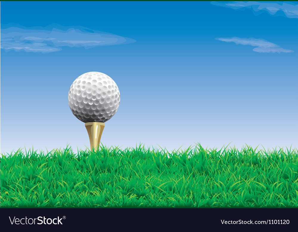 Golf ball on a tee simple golf background