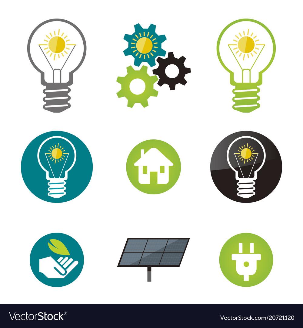 Green energy solar power icons vector image