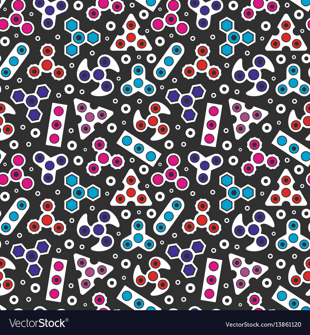 Hand spinners icons seamless pattern