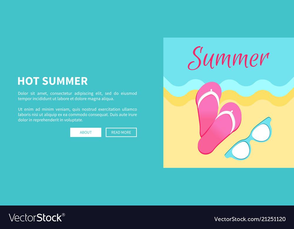 6b822634396c Hot summer poster with slide sandals flip-flops Vector Image