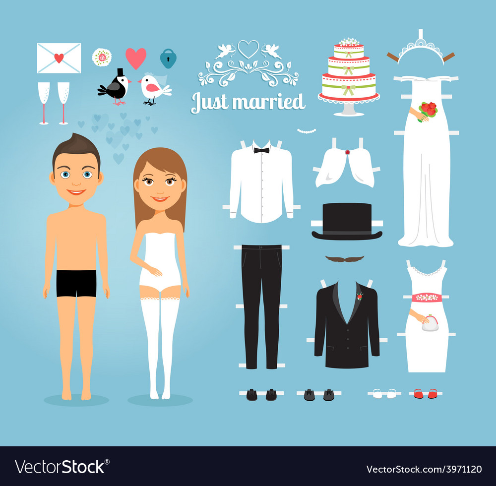 Free Wedding Stuff.Just Married Paper Dolls With Set Of Wedding Stuff