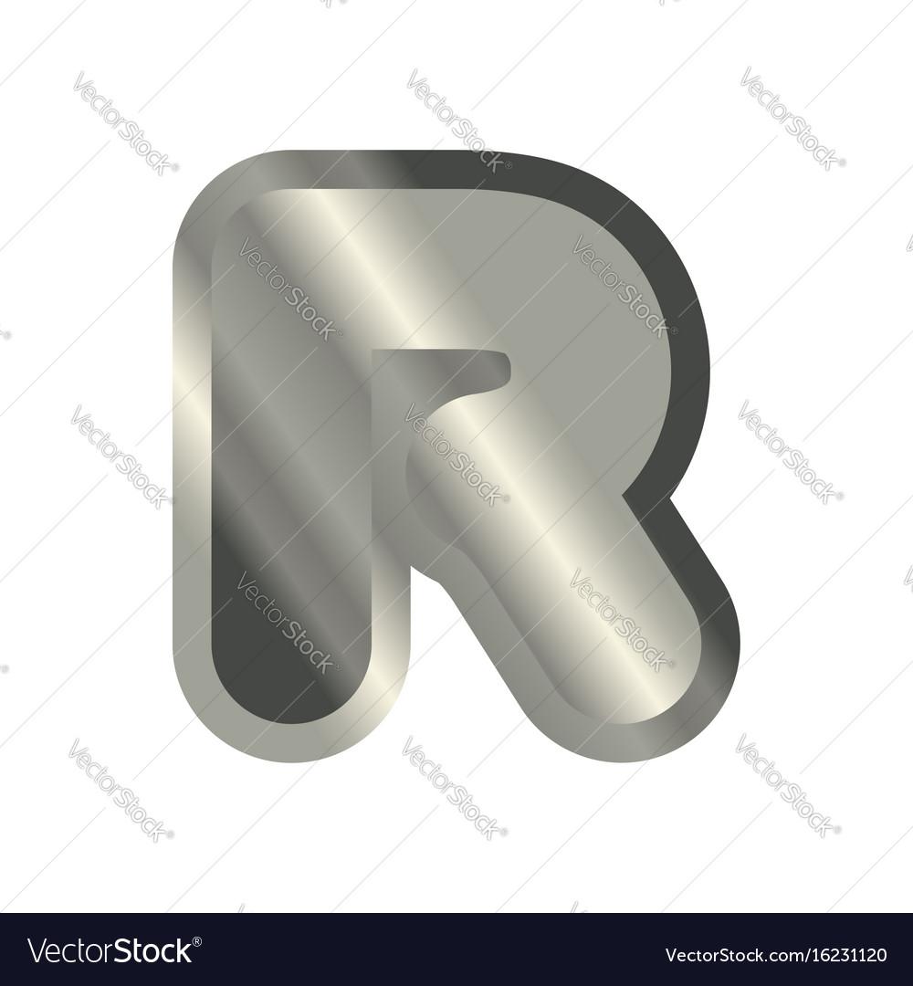 Letter r steel font metal alphabet sign iron abc