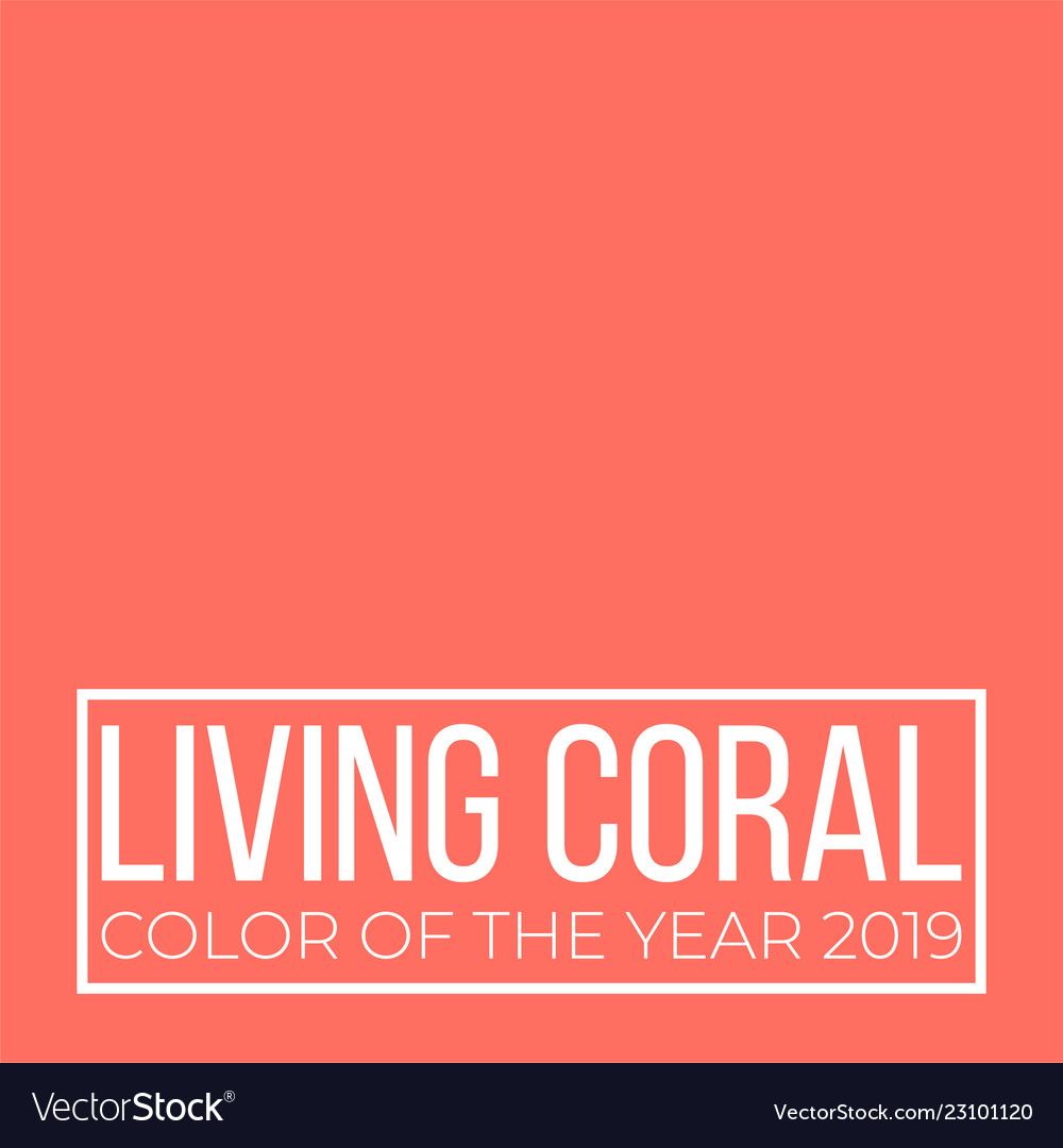 Living Coral Color Of The Year Presentation Vector Image