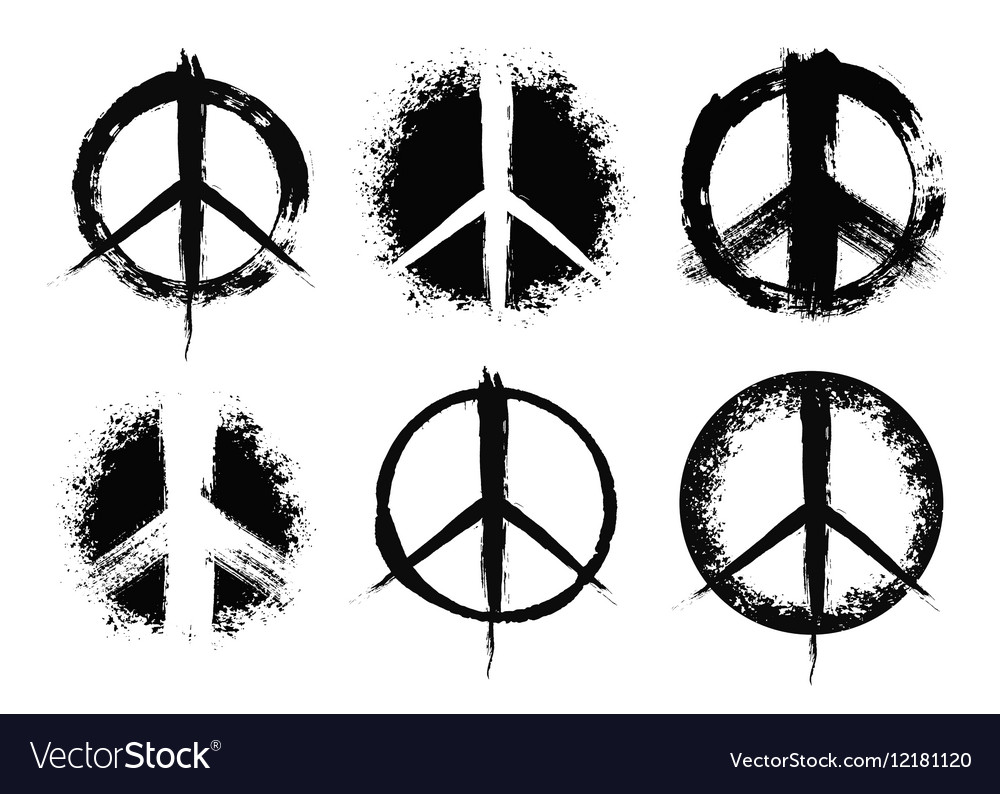 Pacifist Peace Symbols Set Painted Royalty Free Vector Image