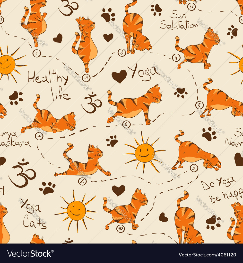 Seamless pattern with cat doing yoga position of