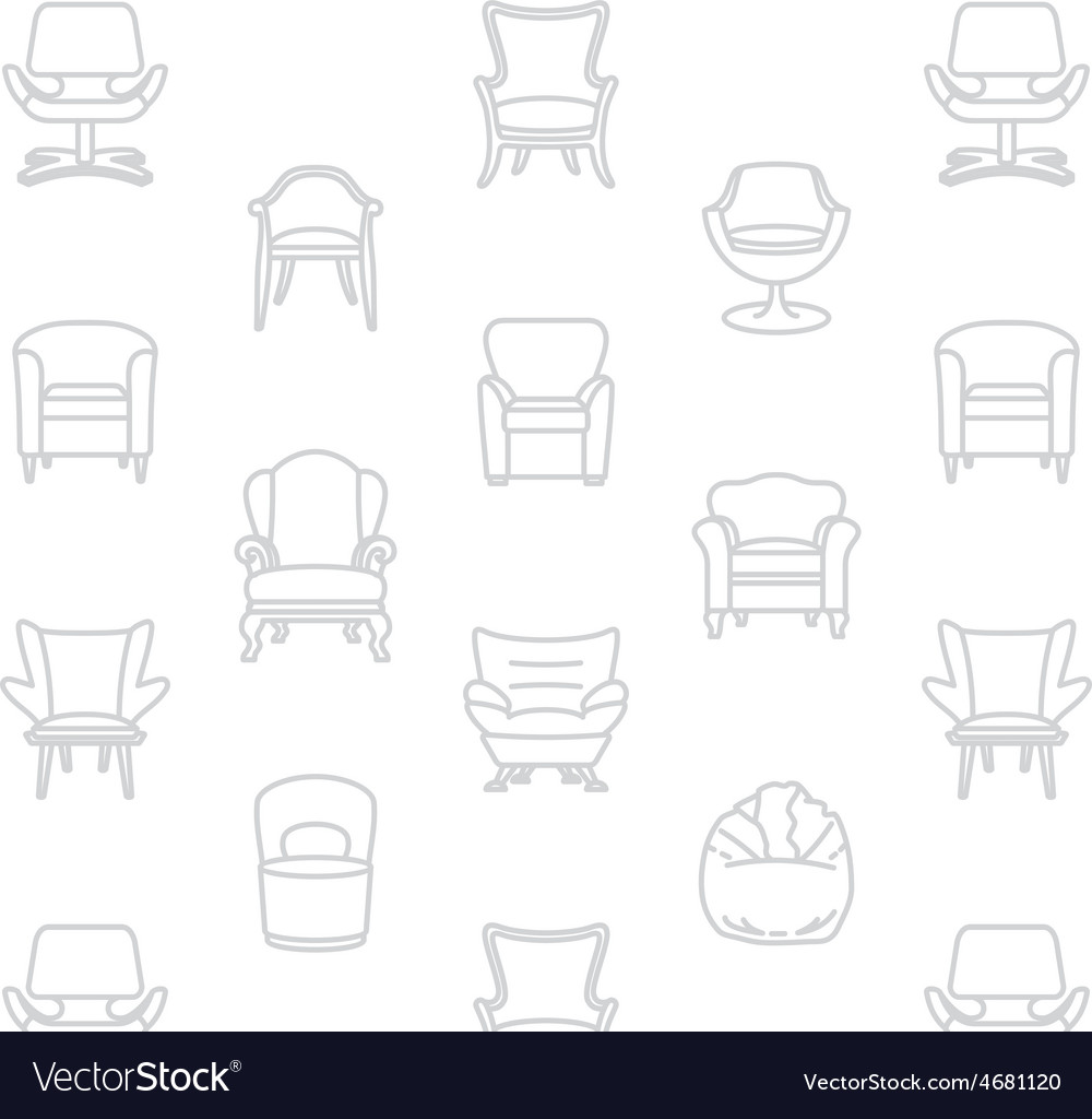 Seamless white pattern of armchairs