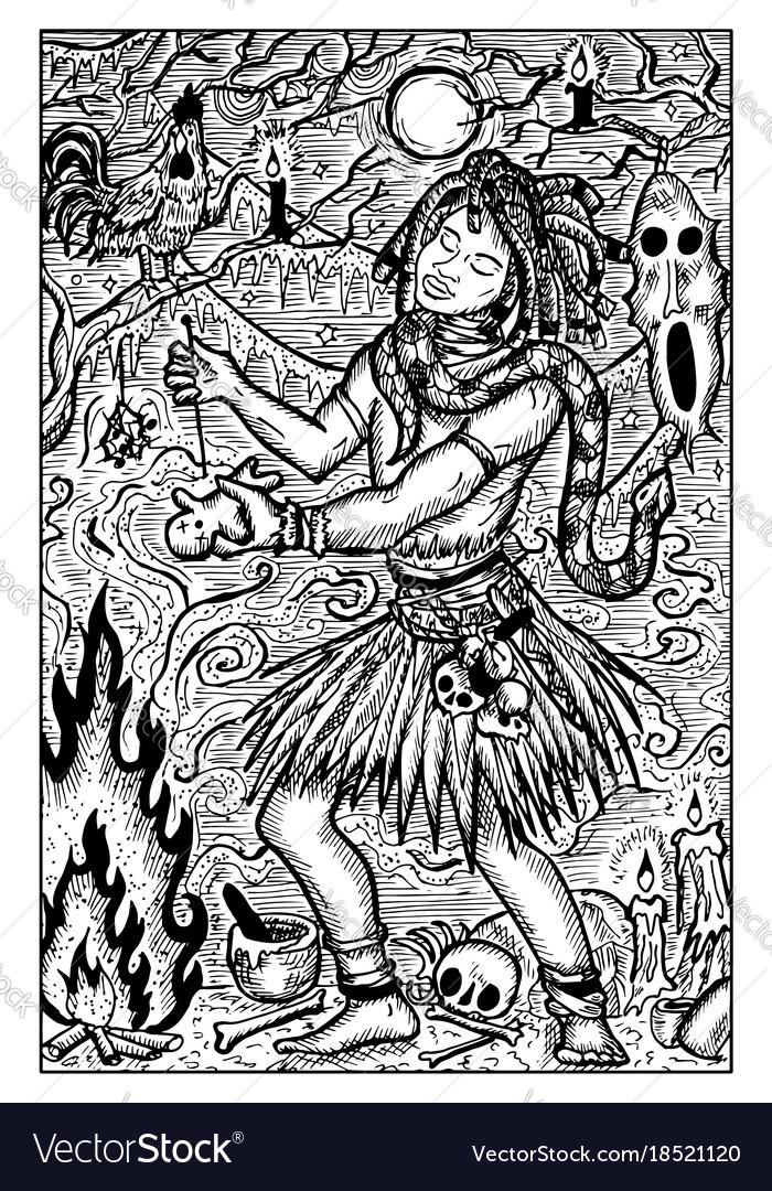 Voodoo warlock engraved fantasy