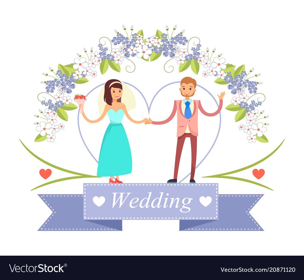 Wedding dancing bride groom vector image
