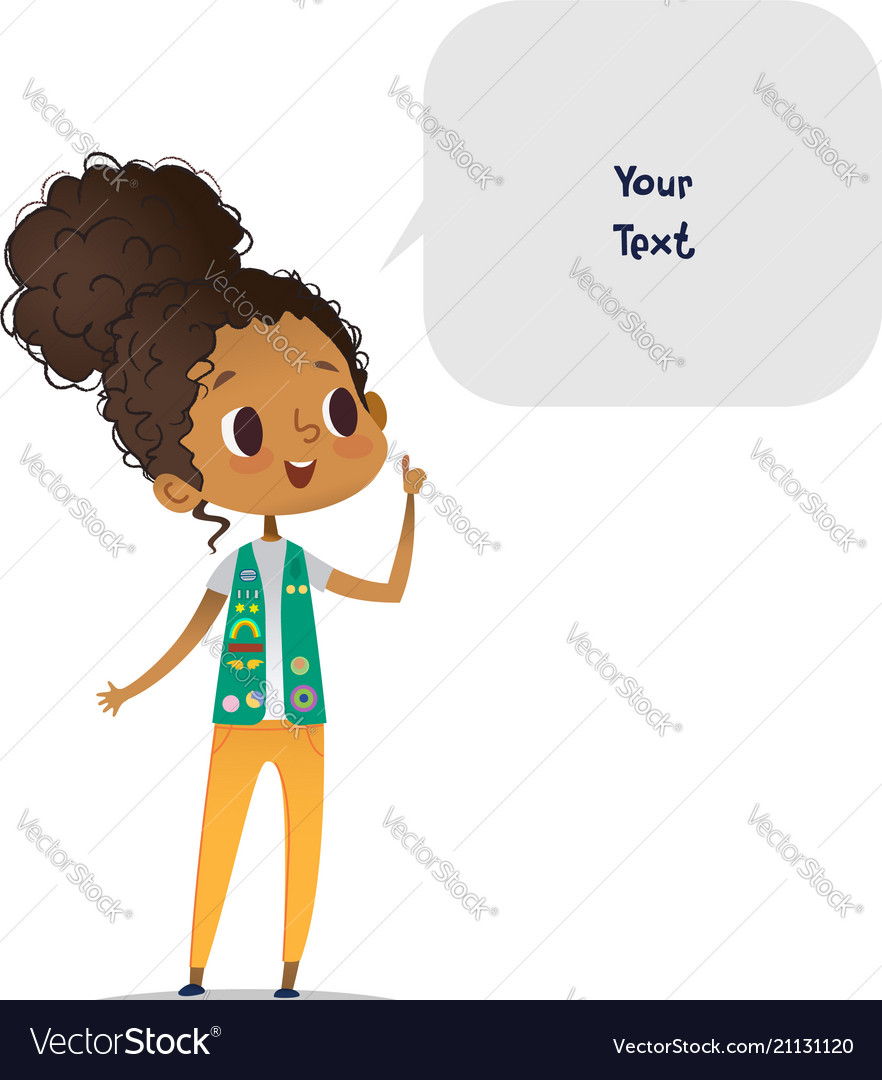 Young smiling african american girl scout dressed