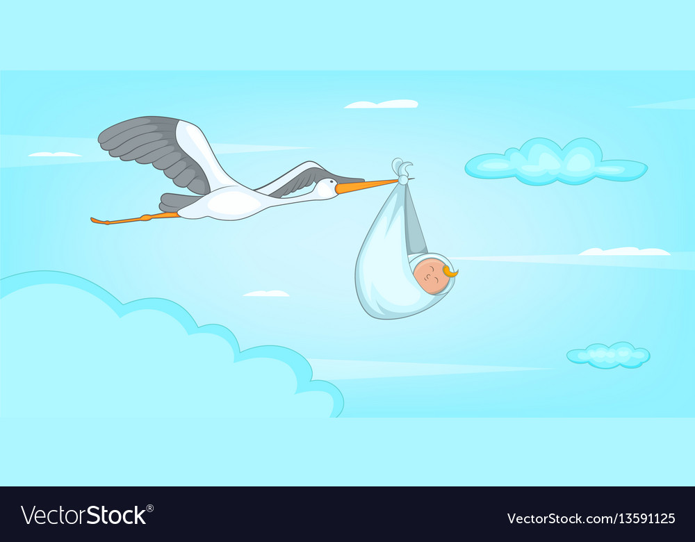 Baby born stork horizontal banner cartoon style