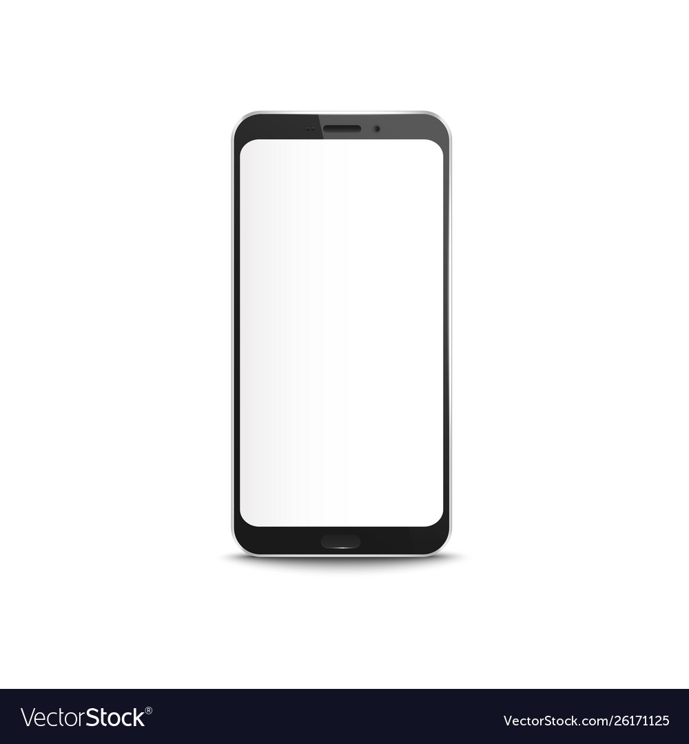 Black smartphone with blank white screen