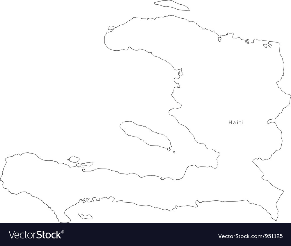 Haiti Map Outline Black White Haiti Outline Map Royalty Free Vector Image