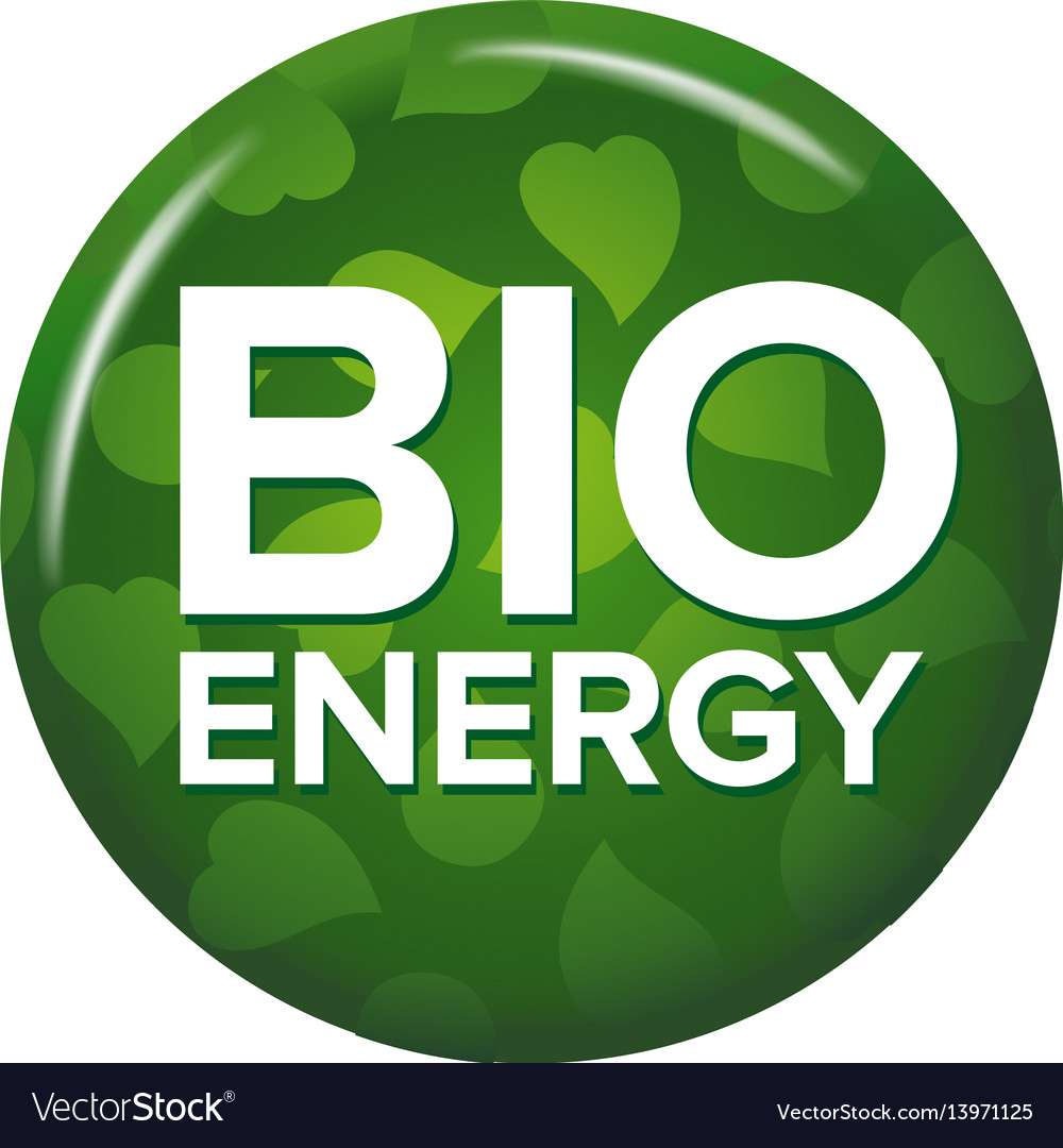 Bright green round button with words bio energy