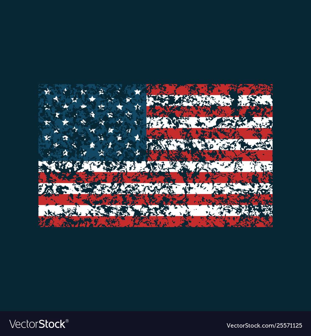 Grunge american flag on dark blue background