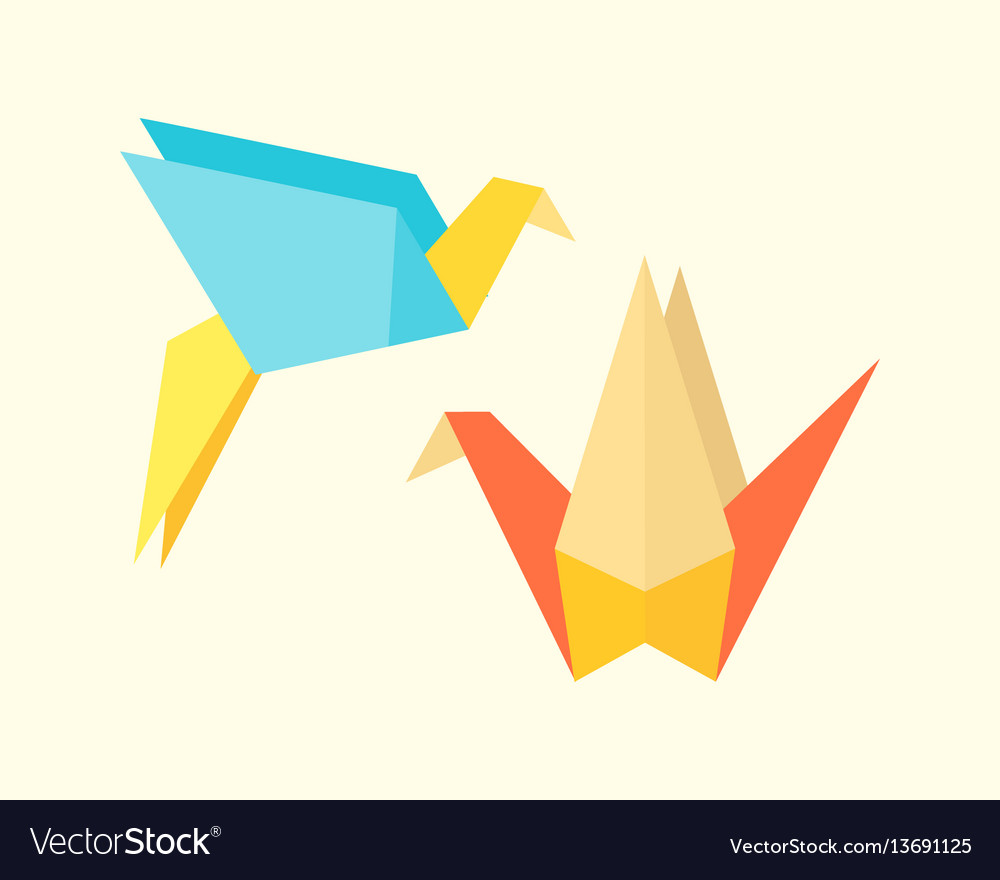 Origami birds crane abstract nature icon craft