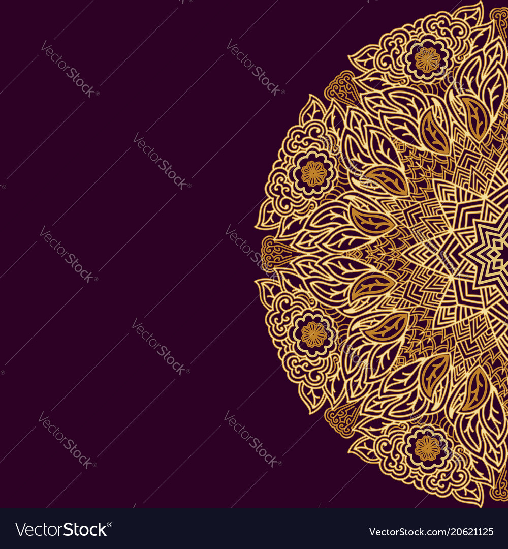 Round ornament in indian style golden on a dark