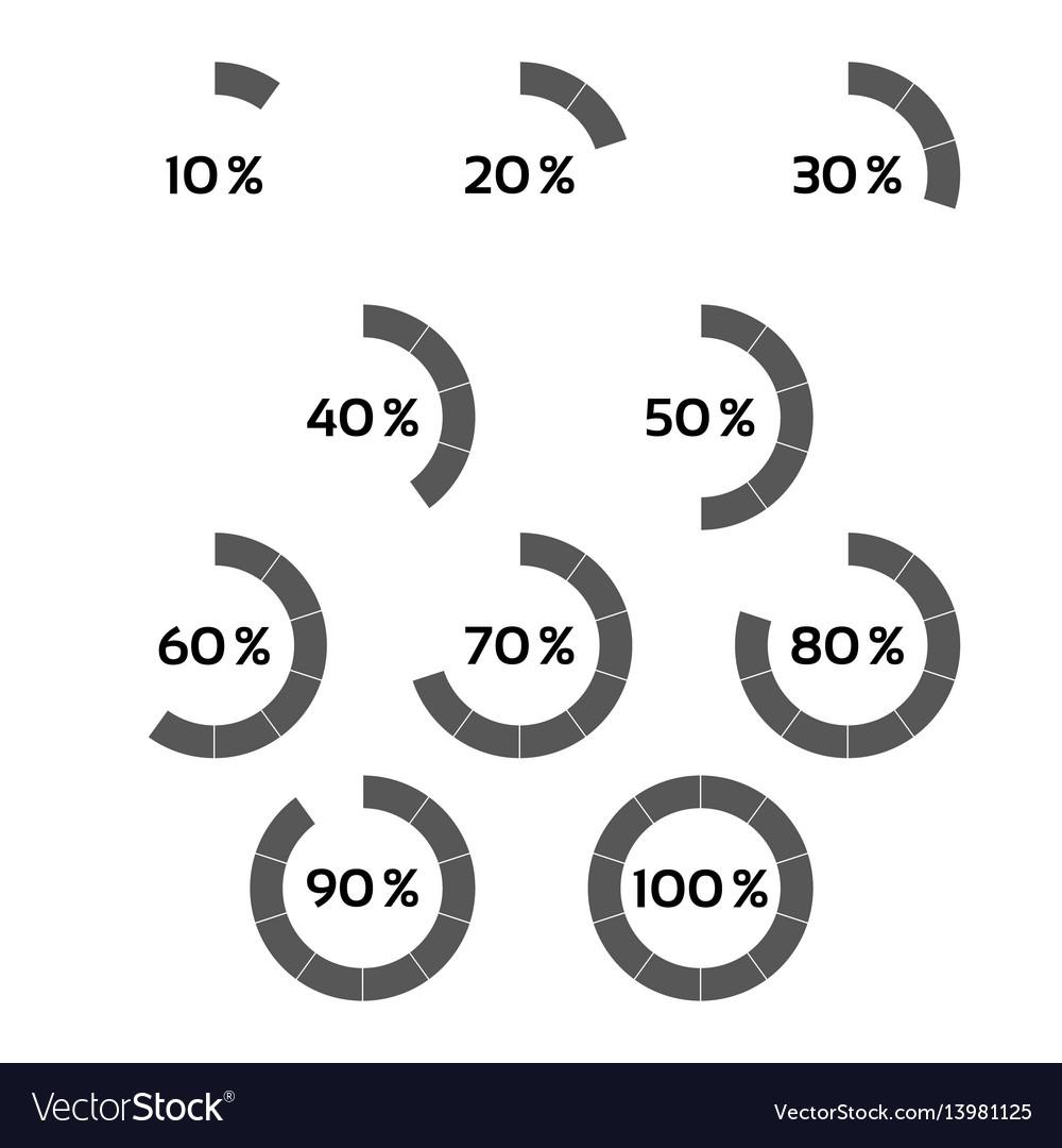 Set of grey percentage indicators vector image