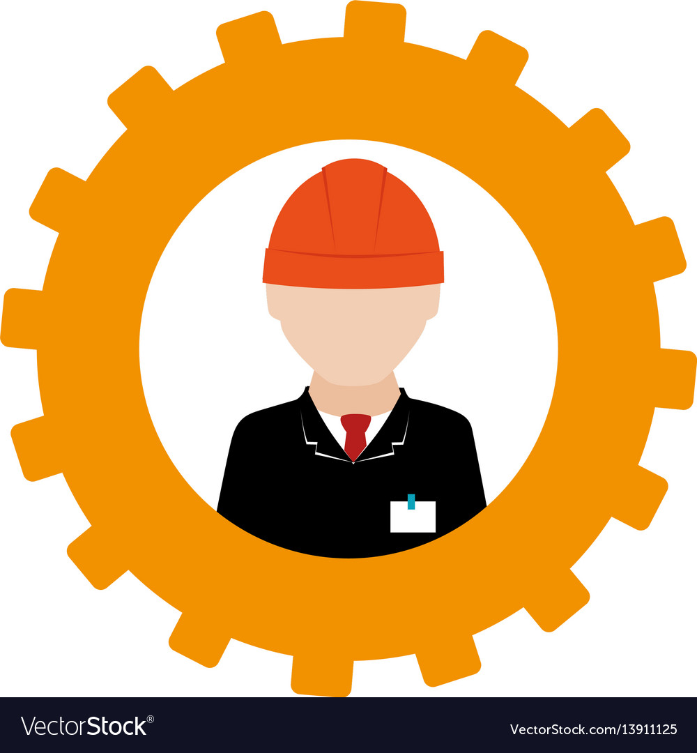 Silhouette in shape of gear with engineer with