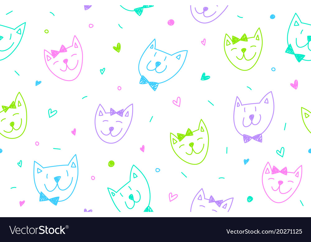 Smile cats faces pattern