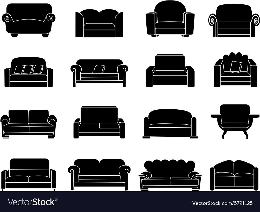 Sofa icons set