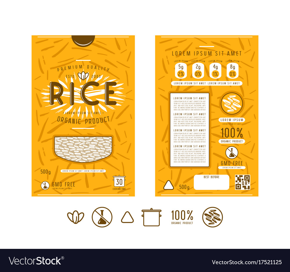 Template Label And Icons For Rice Packaging Vector Image