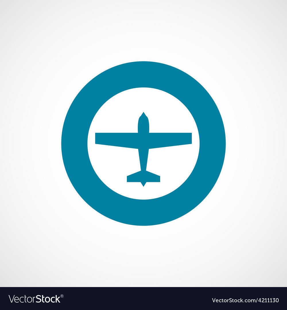 Airplane icon bold blue circle border