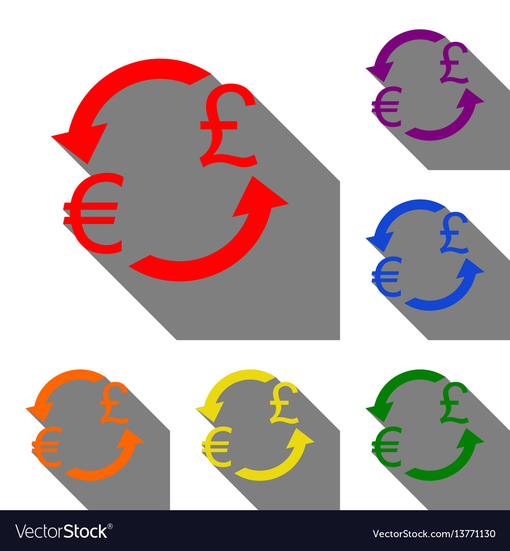 Currency Exchange Sign Euro And Uk Pound Set Of Vector Image