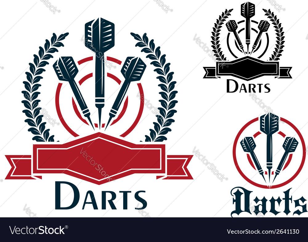 Darts sporting emblems or badges