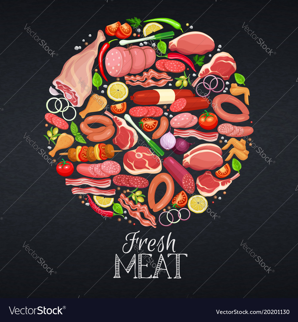 Gastronomic meat products vector image