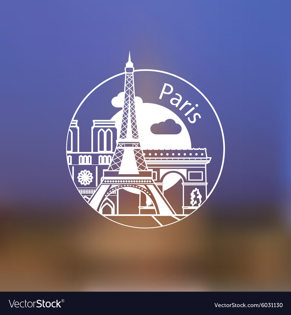 Minimalist round icon of Paris France Flat one