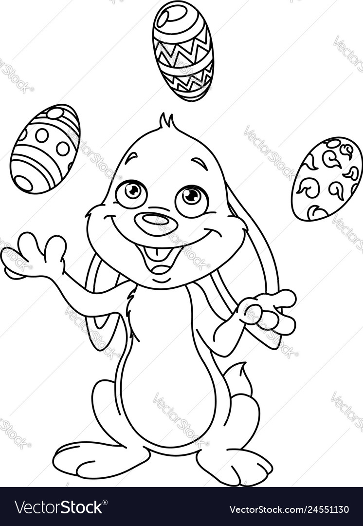 Outlined bunny juggling easter eggs