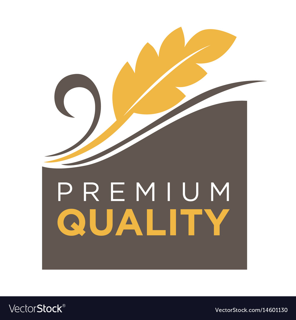 Premium quality whole grain logo with ears of vector image