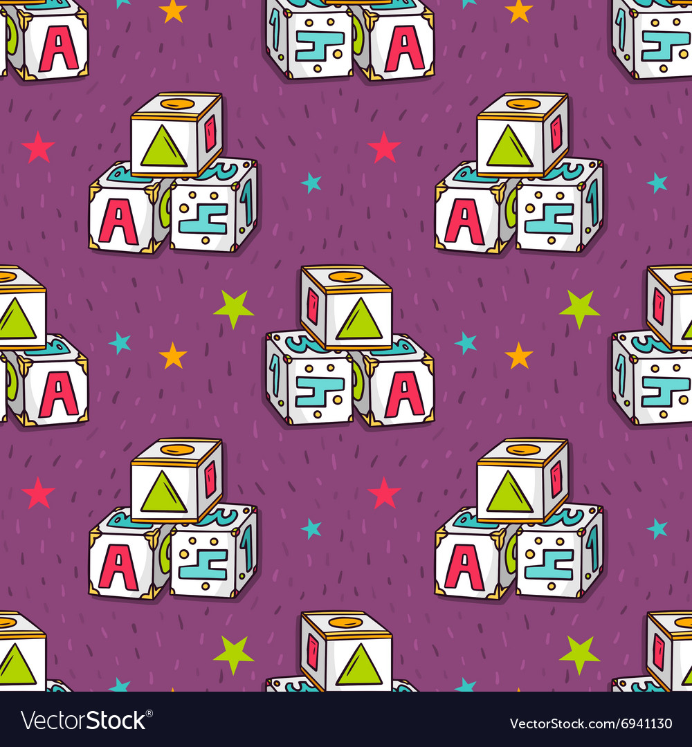 Seamless pattern with baby toy blocks