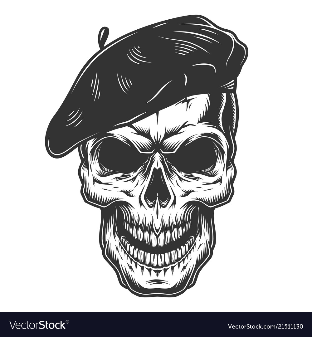 Skull in the painter hat
