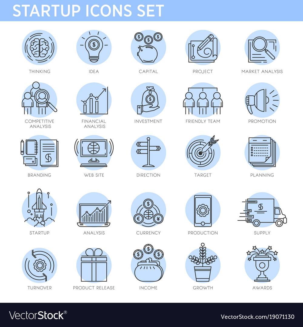 Startup concept line icons set business