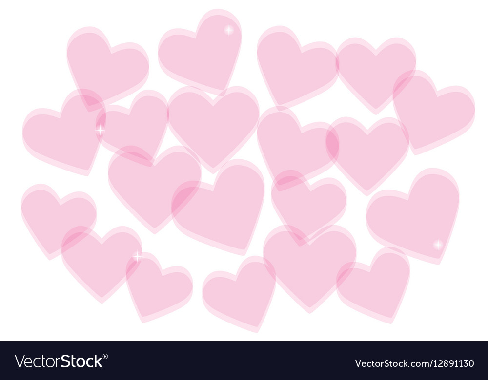 Valentines Day Background With Transparent Hearts Vector Image
