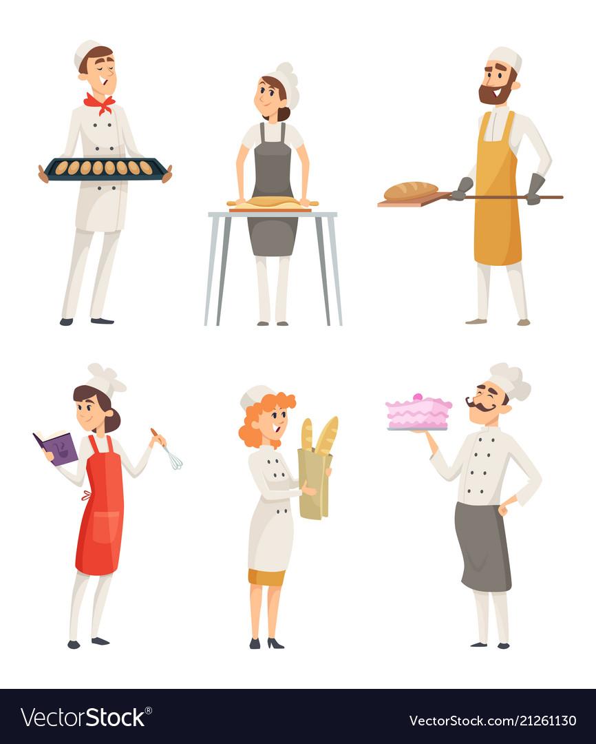 Various cartoon characters bakers at work