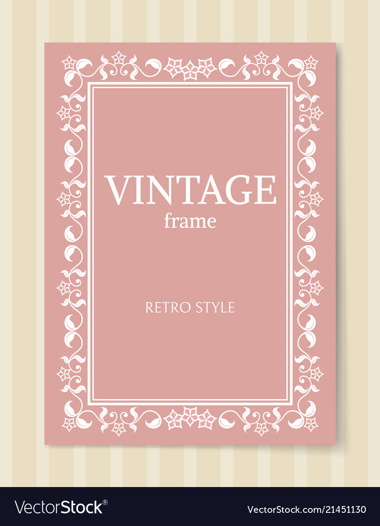 Vintage frame retro style ornamental graphic decor
