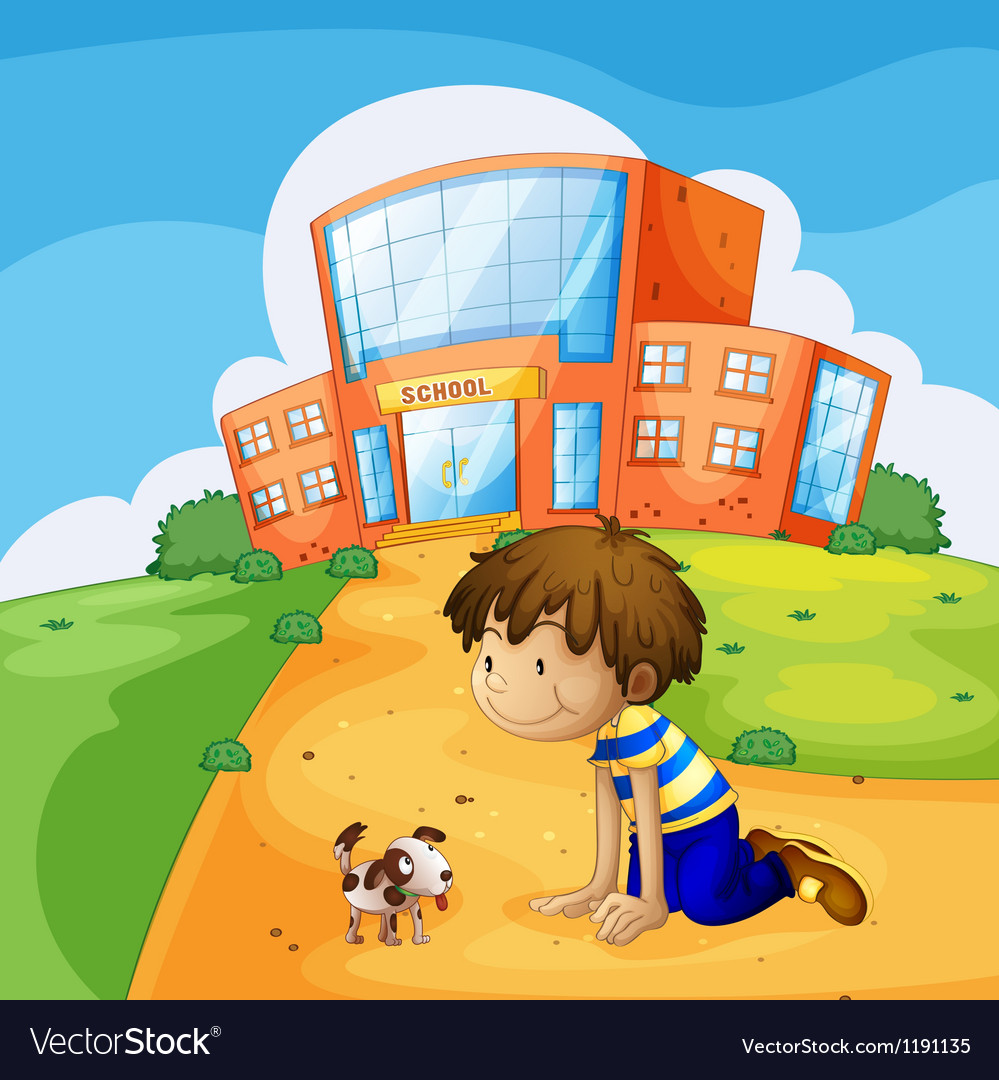 A little boy and his pet near the school vector image