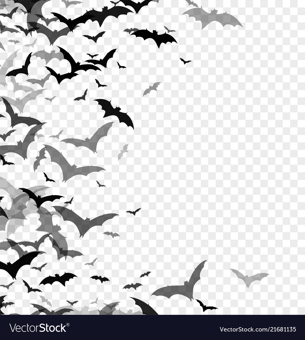 Black silhouette bats isolated on transparent