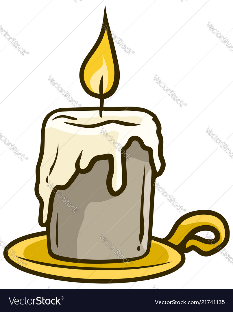 Cartoon flaming candle on golden stand icon
