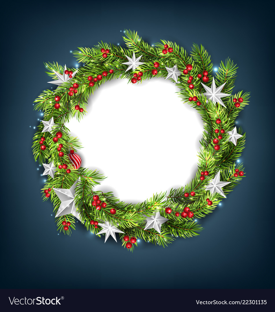 Christmas wreath with silver stars for happy new