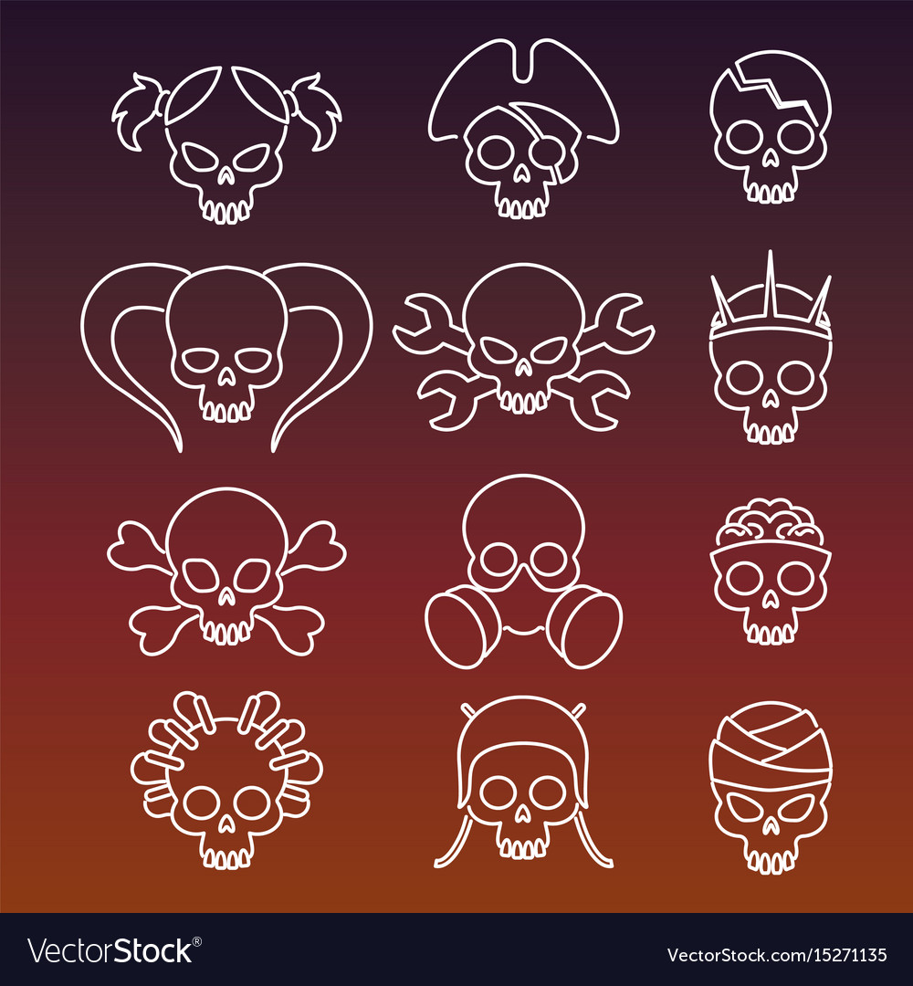 Cute linear skulls icons collection