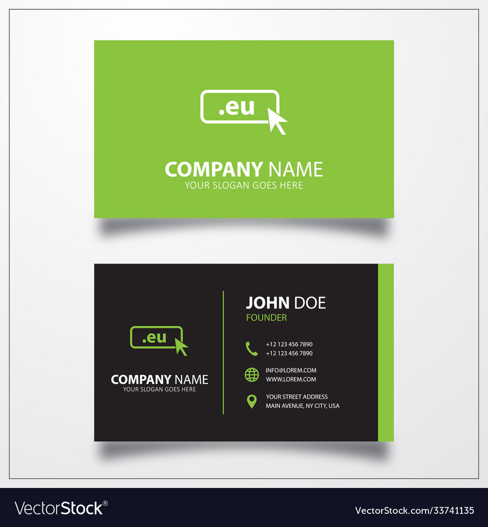 Domain eu icon business card template