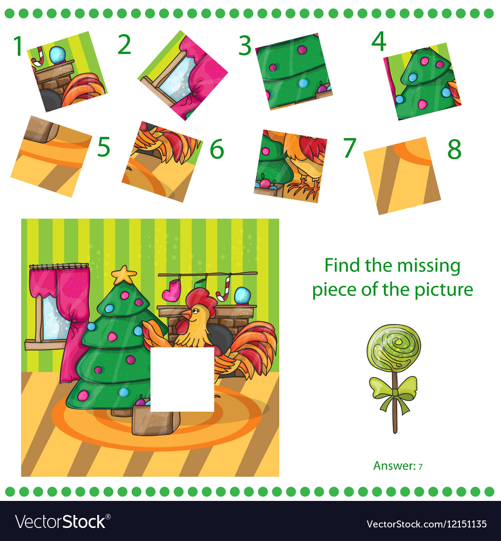 Find missing piece - Cartoon cock with tree vector image