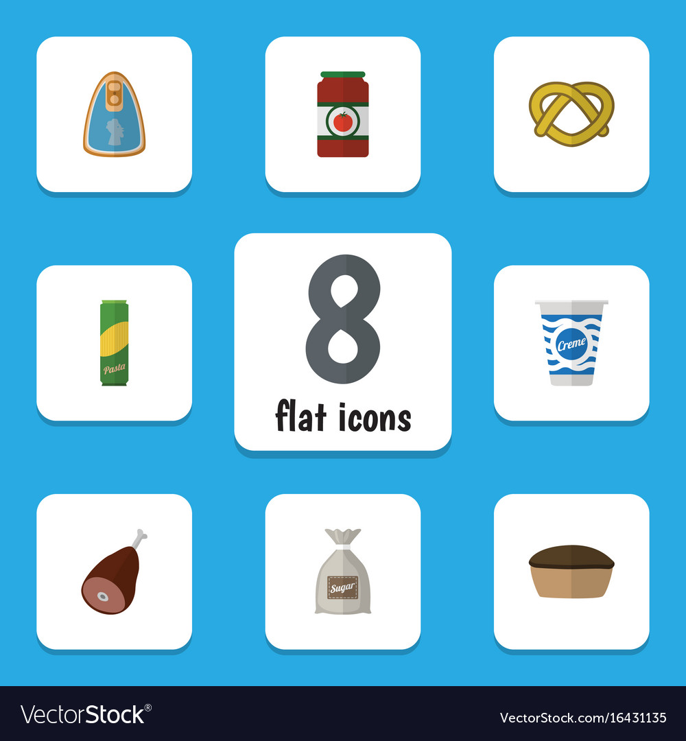 Flat icon eating set of ketchup spaghetti cookie vector image