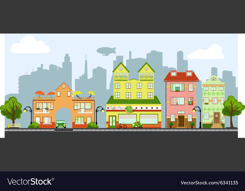 Four little houses vector image