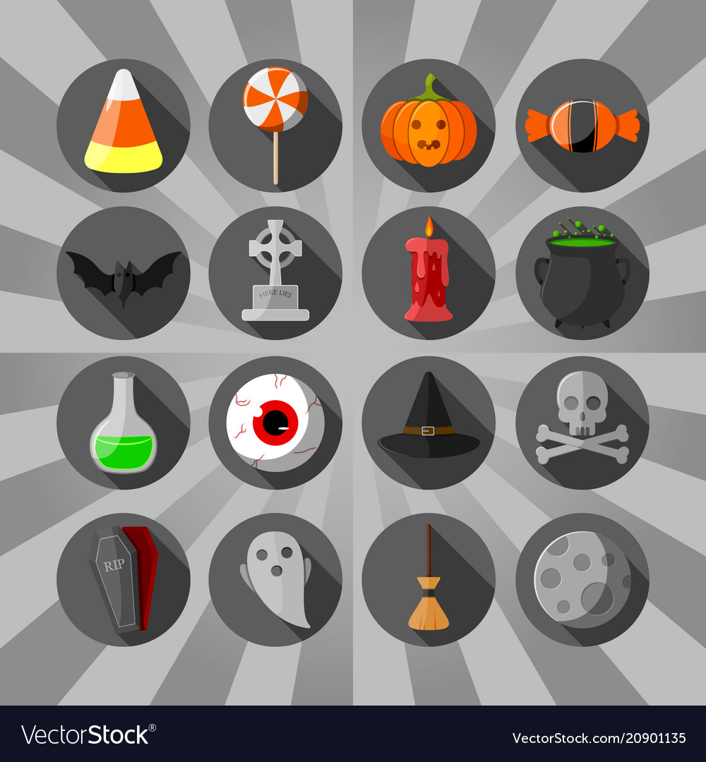 Halloween circle flat icons set black background