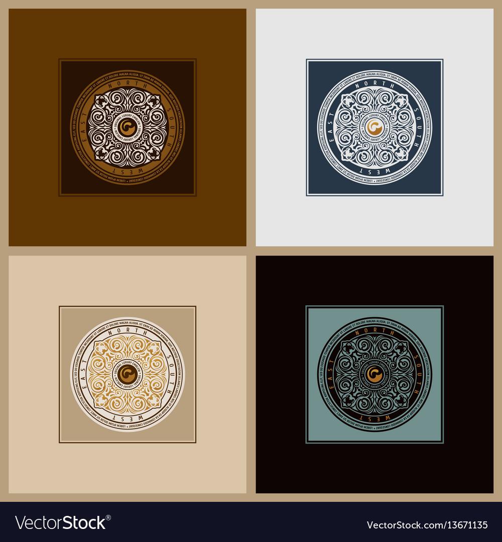 Round calligraphic emblem set floral